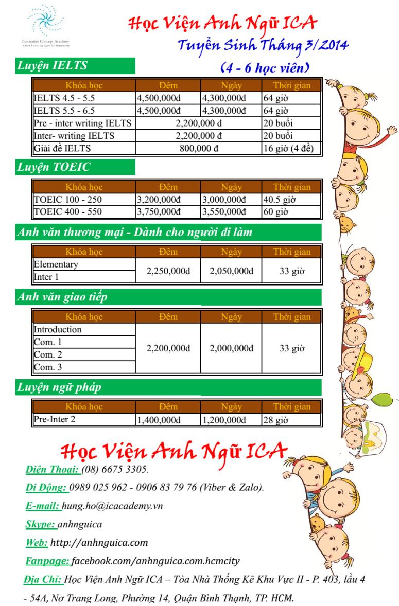Tuyển sinh tháng 3 - 2014